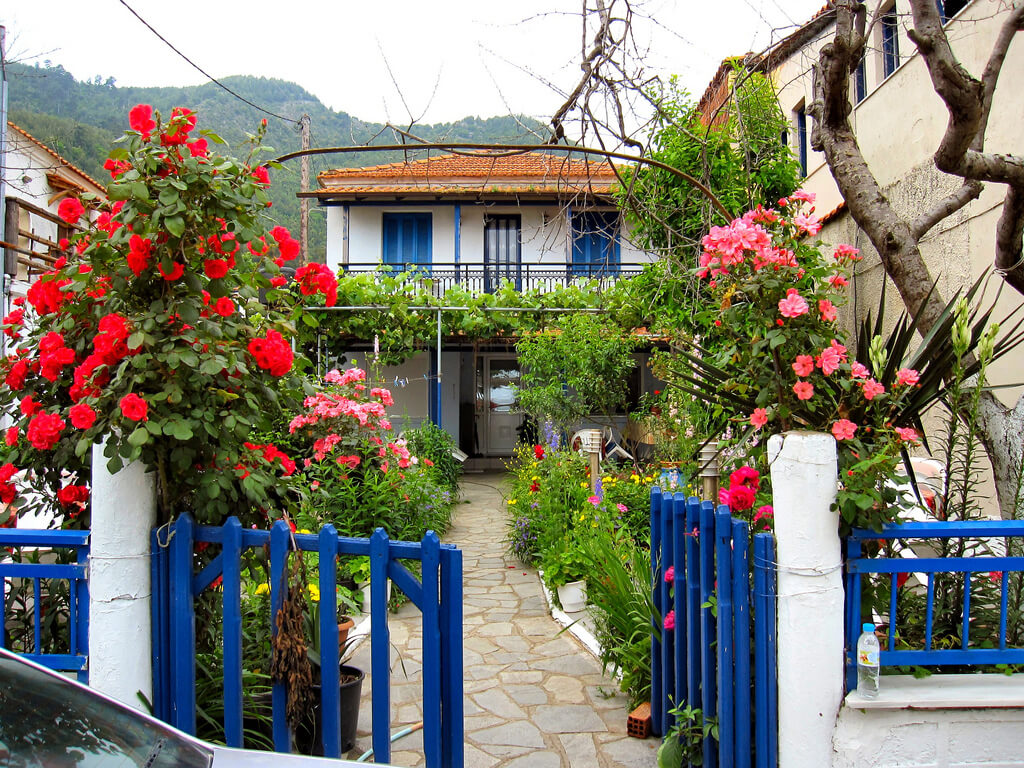 A bright blue gate gives way to pink and red roses. Roses line the stone pathway as you enter and continue all the way up to the second story balcony.