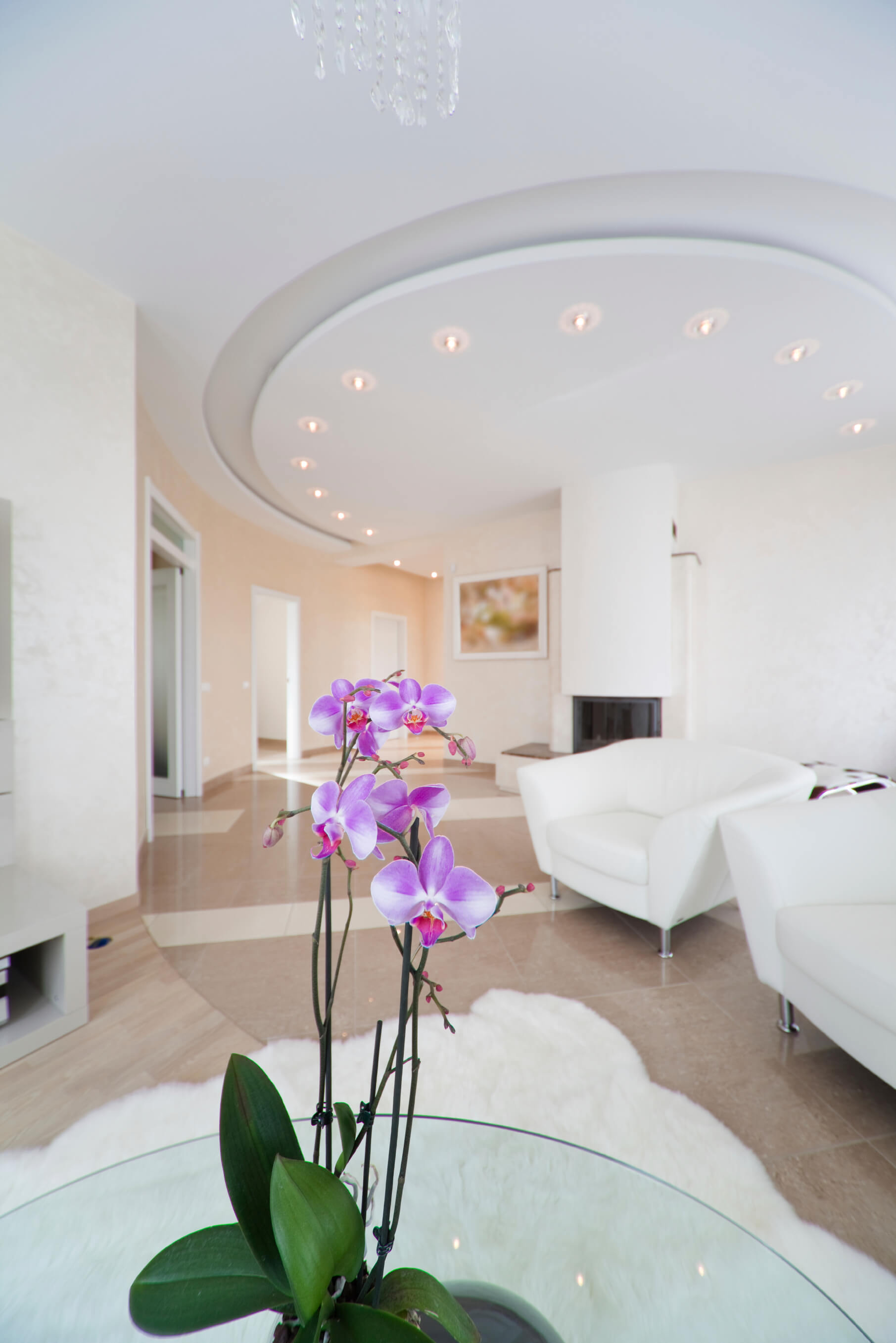 Here is a unique and lovely circular trayed ceiling with a nice lighting element on the lower end of the tray. Not every trayed ceiling has to have to have a large and rectangular tray. There are creative things you can do with this style.