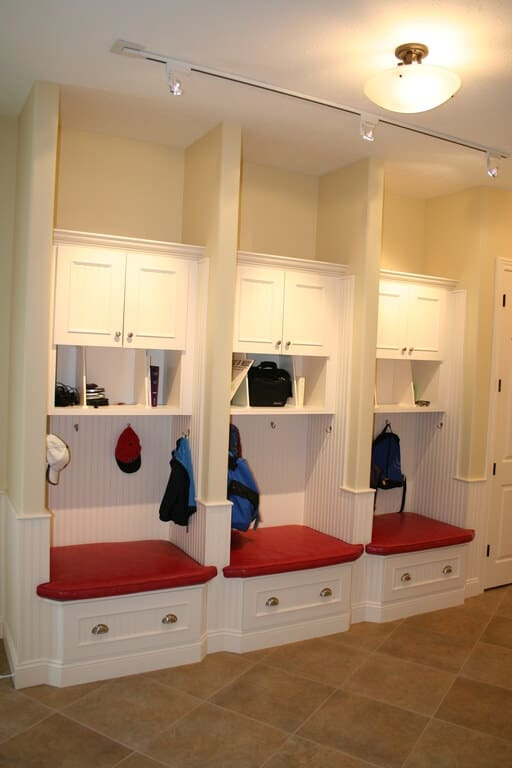 3 Mudroom Lockers with Storage Bench