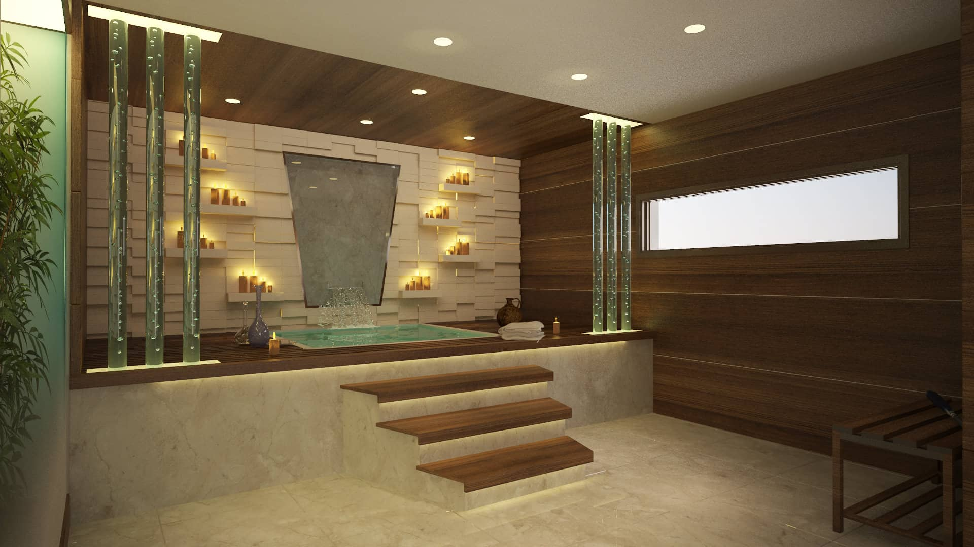 A deluxe indoor hot tub features a textured backdrop wall with shelves topped with soothing candles and a fountain as the focal point. It is designed with lovely glass pillars highlighting the beauty of the rectangular tub.