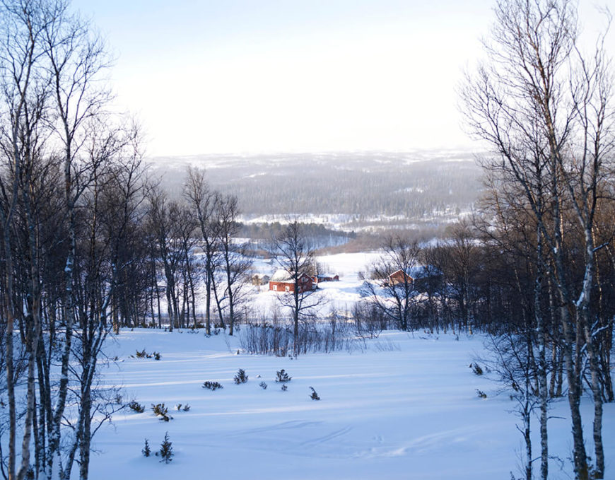 Here's a view from the home itself, looking down over a forested valley toward the hills beyond.