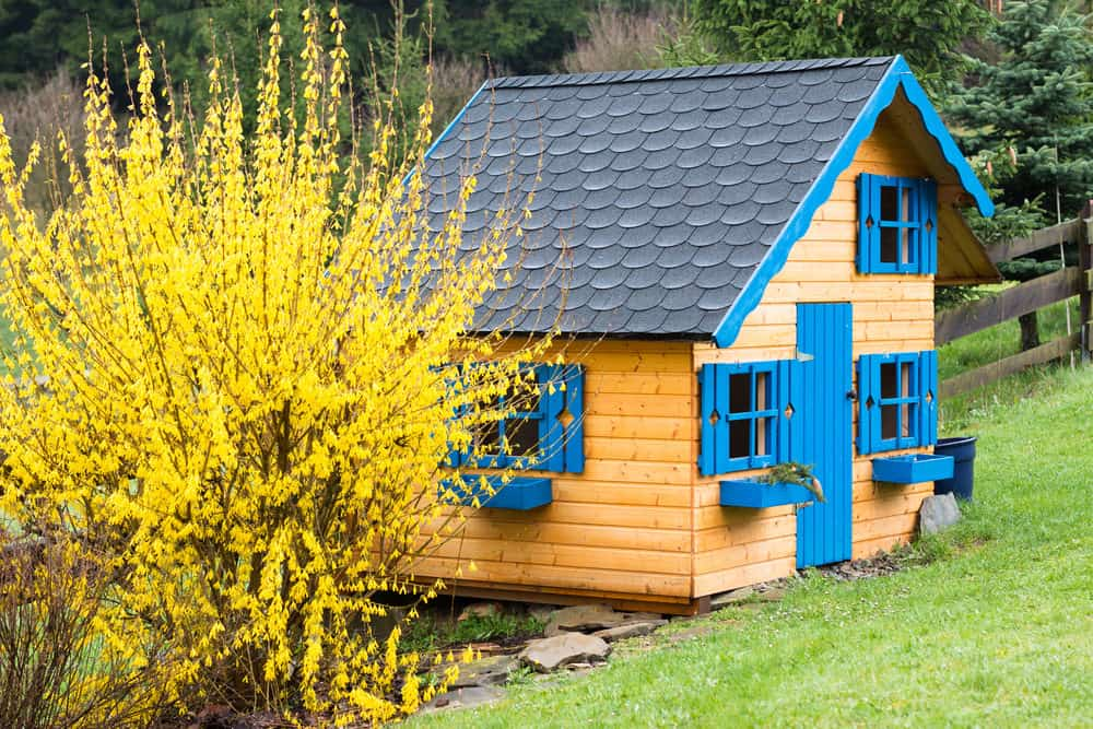 Large play house with long sloping roof, blue door and blue shutters.