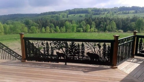 Rustic doesn't always mean you can't have a bit of luxury. These railings are covered in intricate panels depicting wildlife scenes, including pines, bears, wolves, and much more.