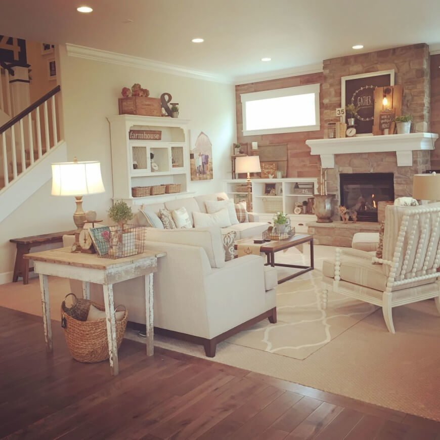 Here is a shabby chic room with classic distressed painted furnishings, and the bright color palette. This room has a mix of furnishings which is ideal to make that collected and worn look. Things don't have to match to make shabby chic work.