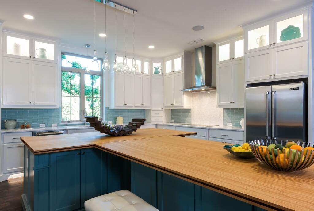 Light bamboo is more eco-friendly than wood countertops, and achieves a minimalistic, natural effect in a kitchen
