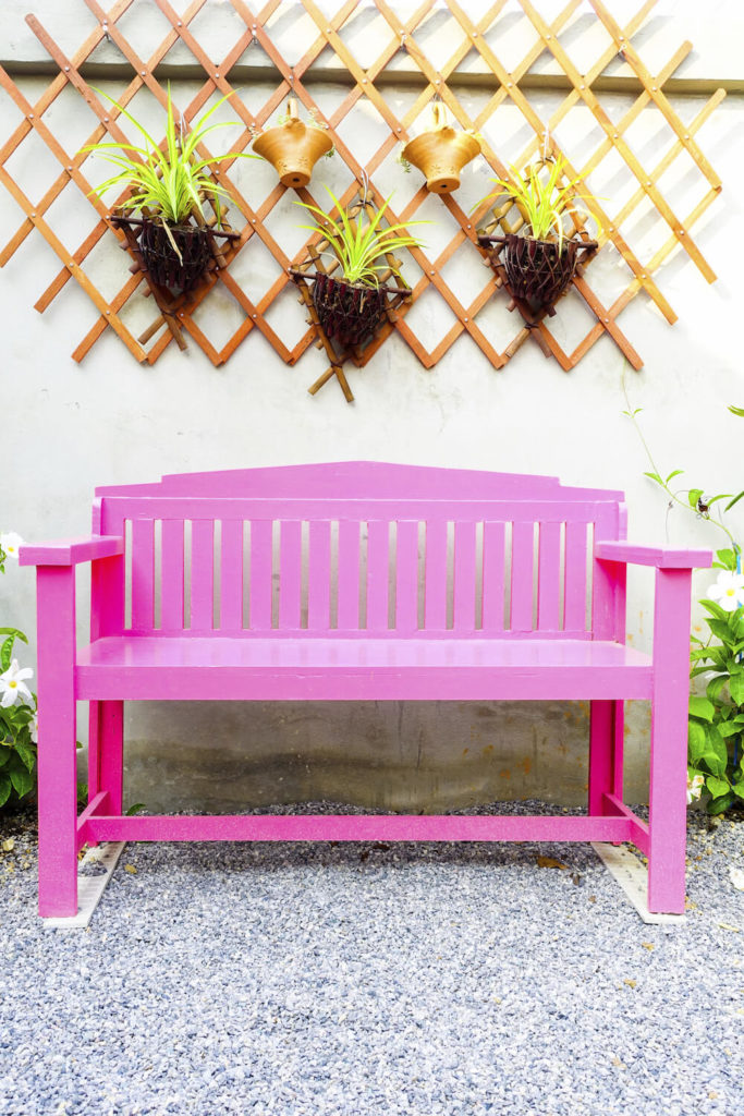 Here is a bright and vibrant bench for a light and breezy area. Experiment with color and design. This bench is not afraid to stand out, not only in this space, but amongst other benches as well.