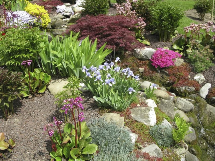 If you have bushes or taller plants in your garden, rocks can still make an excellent base for your garden; especially so on sloped surfaces, where the stones can give a mountainous feel to your garden.