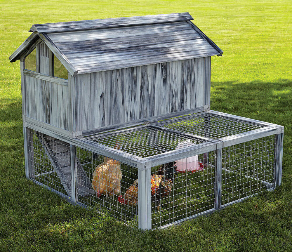 The rustic look of the wood here belies this chicken coop's modern construction and store-bought source. It's a ready-made set that will grant you an elevated roost space and plentiful exercise area in no time.