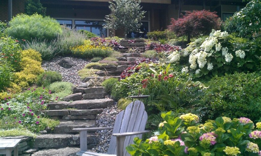 A solo Adirondack chair sits near a flowering bush in this picture. What better way is there to enjoy your garden than in a nice laid back and relaxing chair?
