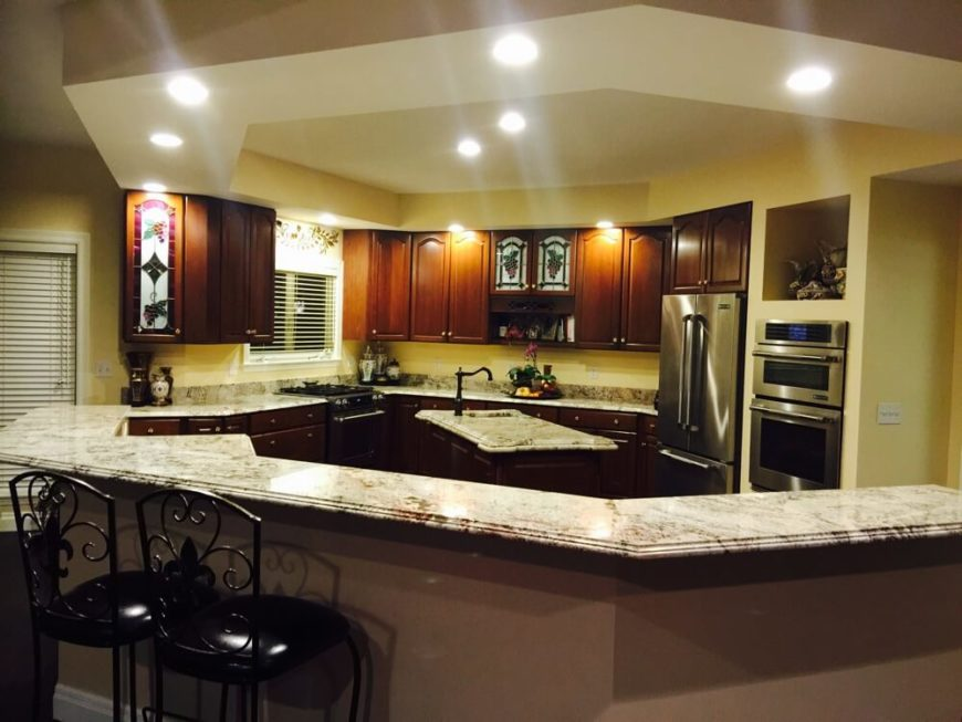 If you need a large amount of granite for a large kitchen, consider choosing a more muted granite so that the pattern doesn't get overwhelming.