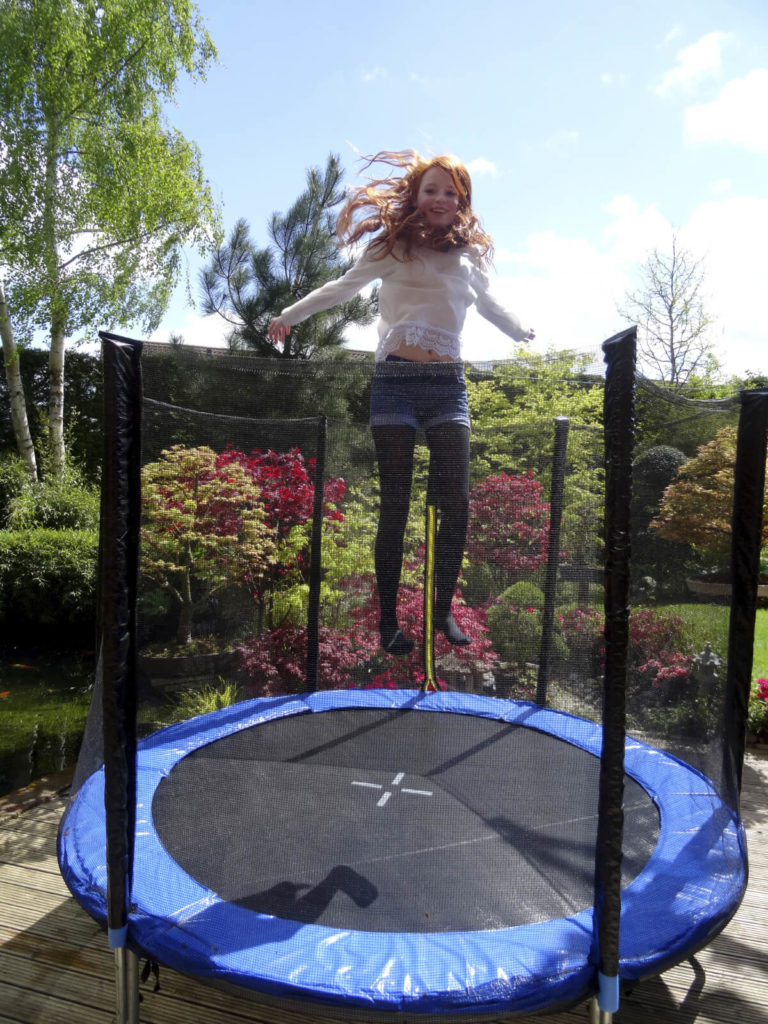 Here is a small trampoline that is great for small yards or children. There is not much room for awesome trampoline tricks but there is plenty of fun that can be had on this compact and functional trampoline.