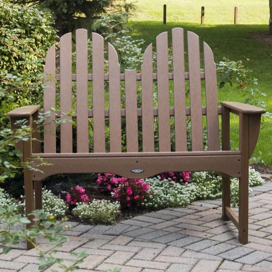 Here is the perfect bench for two. This bench is lightweight and easily movable so you can transport it to any spot that needs a bit of extra seating.