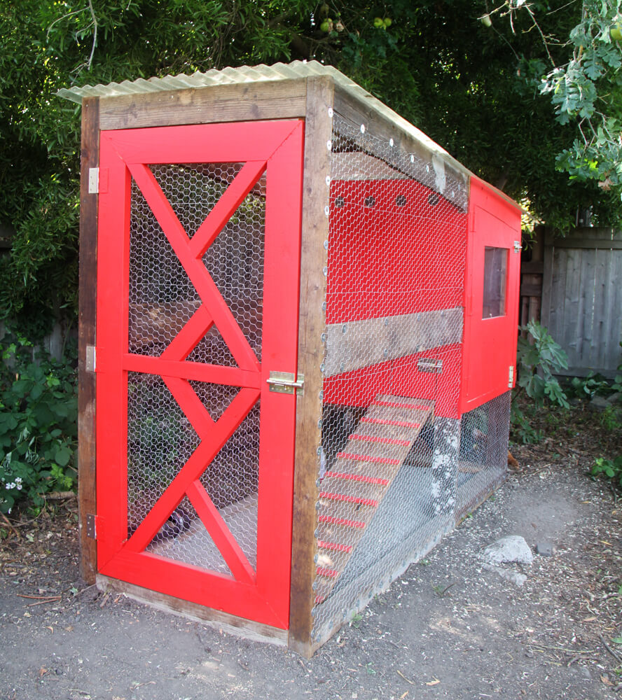 This DIY solution is large and highly visible, thanks to bold red paint and a narrow footprint that means it can stand in almost any size yard. The elevated coop and fenced in area provide plenty of room for roosting.