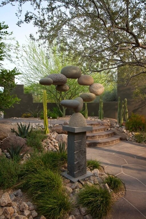 Sculptures made from stones and rock are a good way to own something that is both manmade and intentional, as well as natural. Having both of these qualities can be an amazing way to bridge the gap between natural features and more constructed ones.
