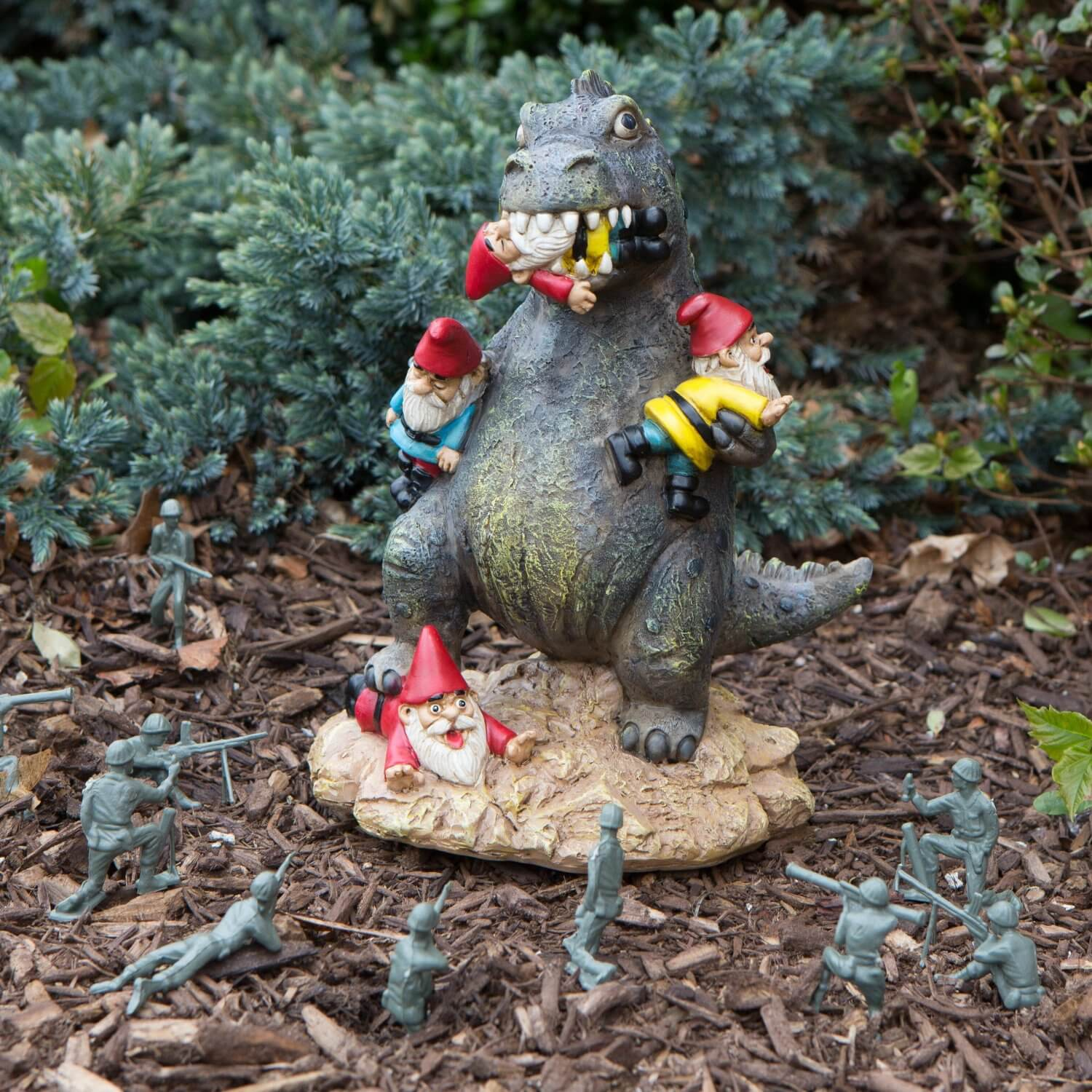 Many people like garden gnomes. Share your thoughts with this sculpture of a dinosaur terrorizing a flock of gnomes. This fun twist on the garden gnome is sure to garner attention.