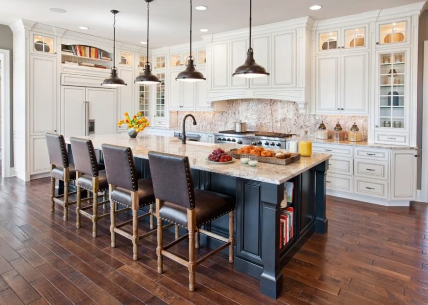 Contemporary kitchen with pendant lighting above the island.