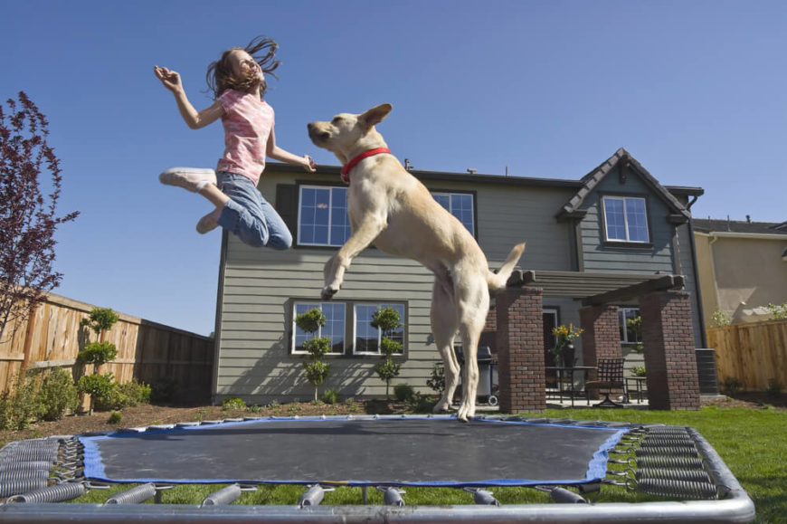 This trampoline is a small pentagonal trampoline that is perfect for one or two users at a time. This trampoline is also smaller so that it can fit into yards with less space. Not all trampolines need to take up a massive area.