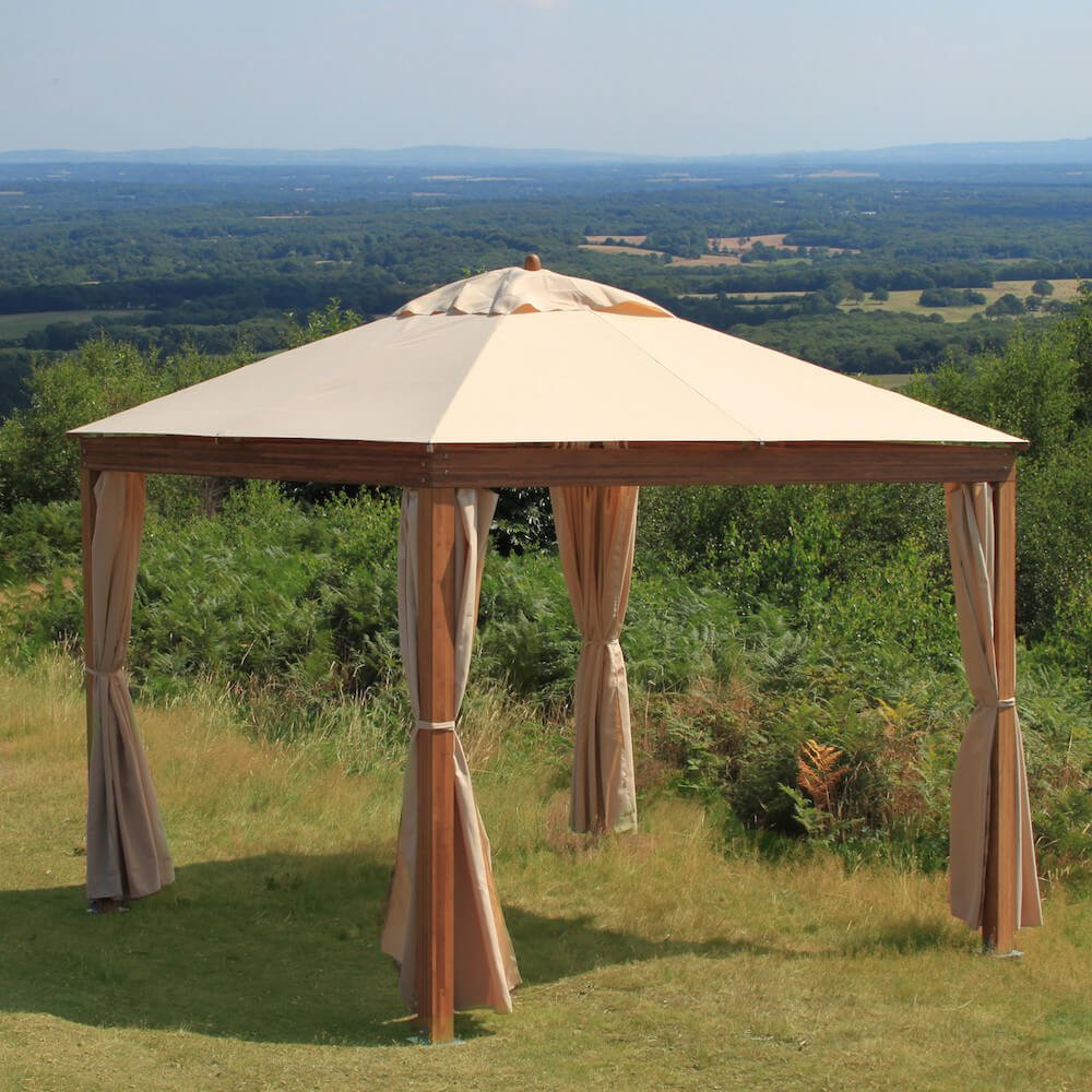 Here is a simple wood and canvas portable pavilion. This is a great pavilion for a small gathering or for placing by the pool. You can place this pavilion almost anywhere and have it be both fashionable and comfortable.