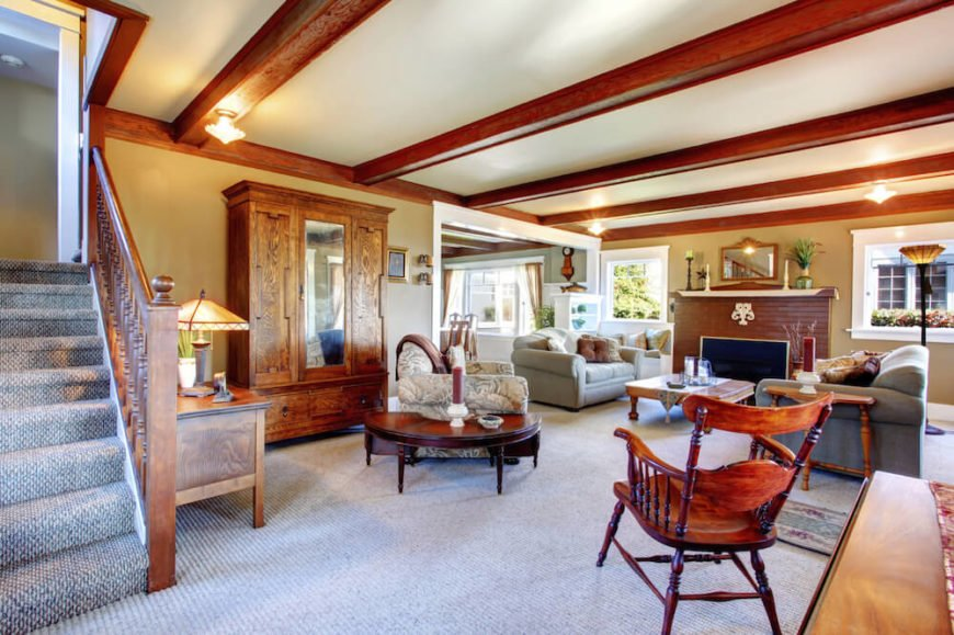 Exposed beams are a classic way to add architectural interest to a room and are popular in traditional and craftsman style homes.