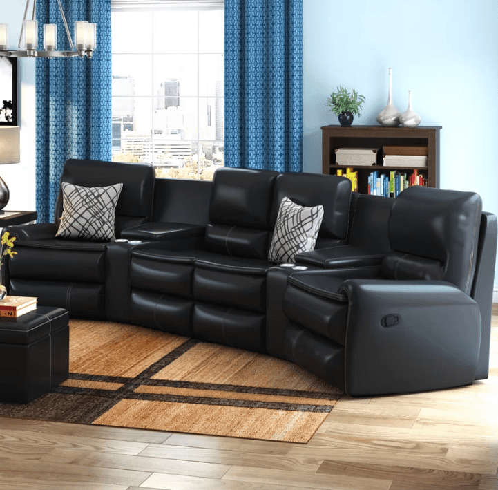 Compact curved recliner sectional