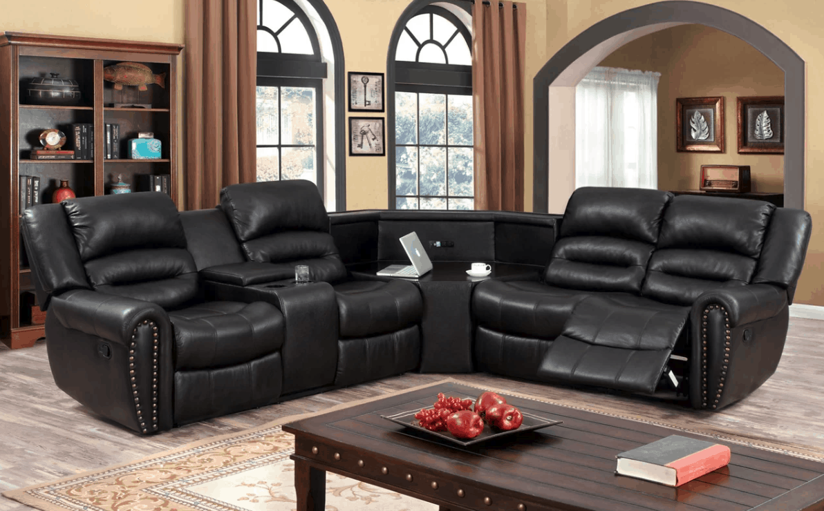 Cool recliner sectional with huge console table