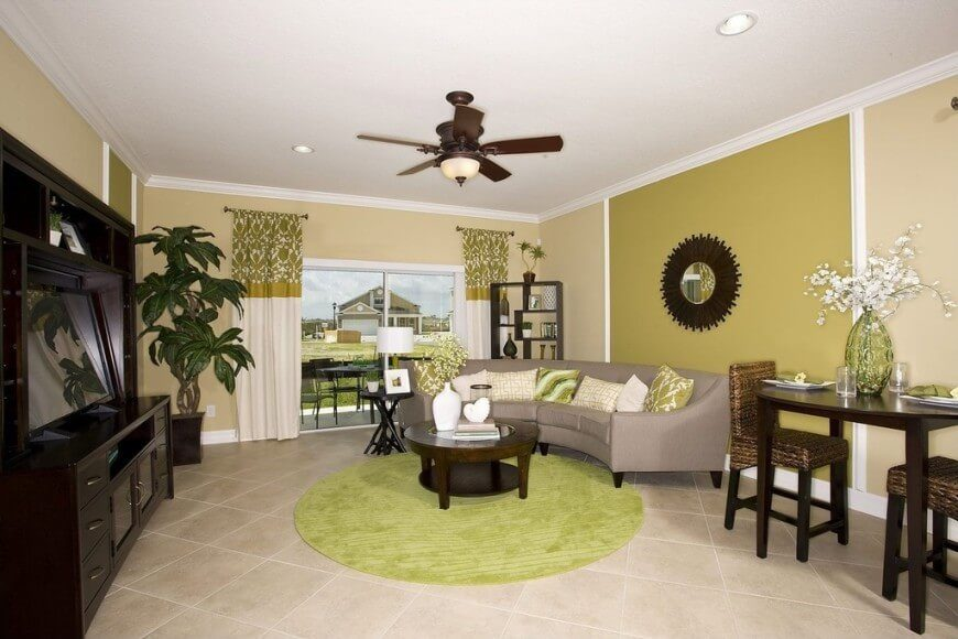 Using tiles on for your living room floor can give your room interesting lines and designs. These kinds of floors are great for a DIY project and custom designs.