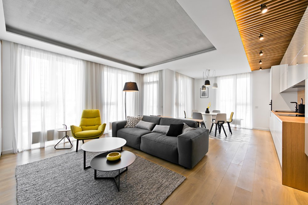 Modern-style great room with a stylish couch and a nice kitchen setup. The tray ceiling looks charming as well.