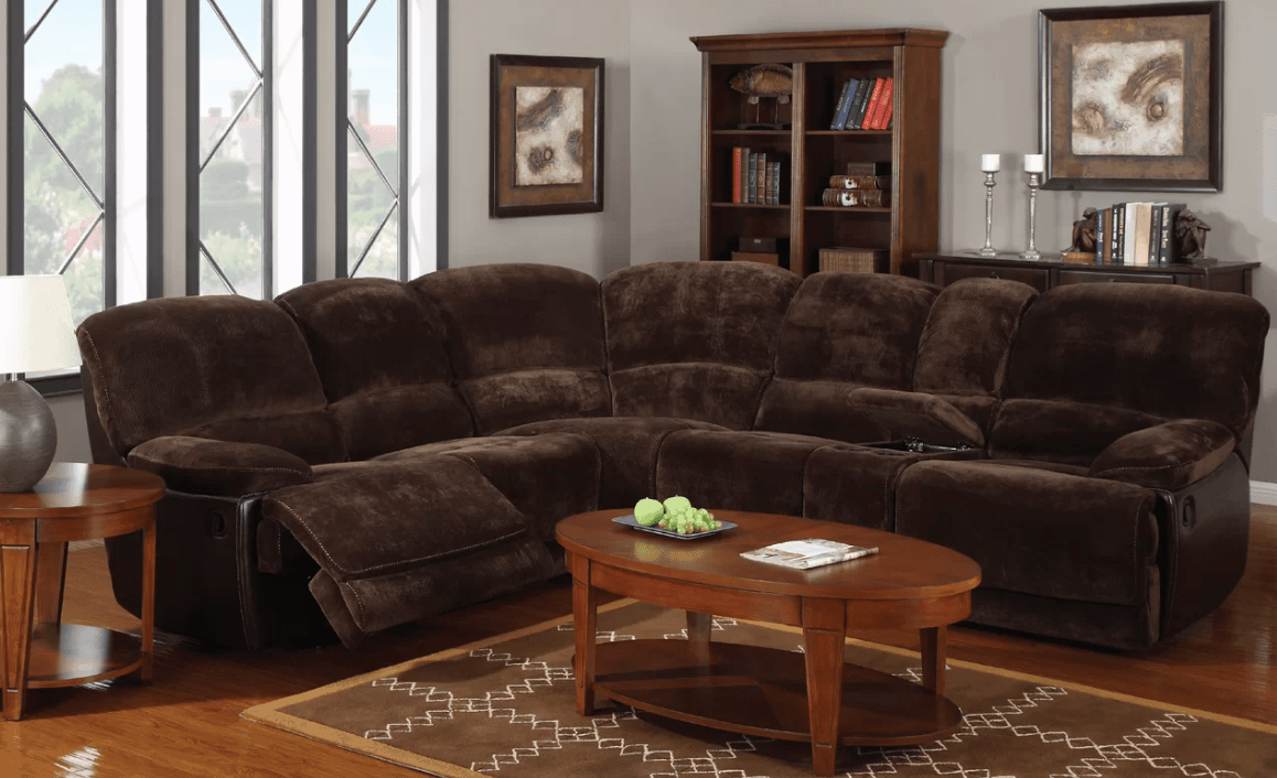 Polyester blend recliner sectional sofa