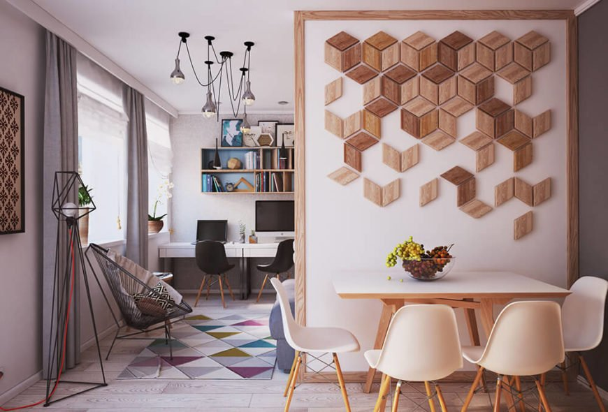 A simple dividing wall between the living room and dining room is decorated with a natural wood pattern.