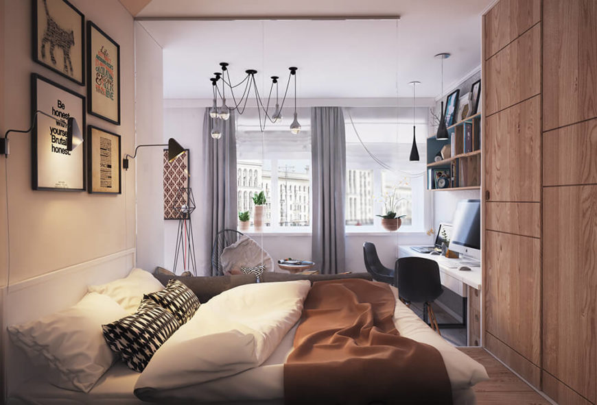 When looking at this bedroom from the living room, it's nearly impossible to see the network of minimalist cabinets that are used as the bedroom's wardrobe and closet.