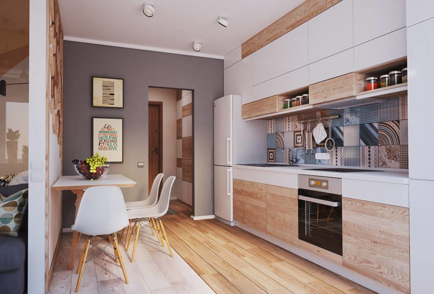 Modern kitchen and dining room with lots of color and patterns.