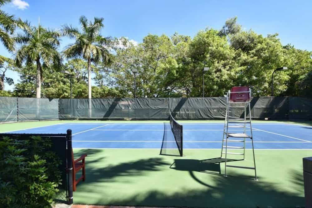 This is a gorgeous professional tennis court surrounded by beautiful tall trees for privacy and shade. Images courtesy of Toptenrealestatedeals.com