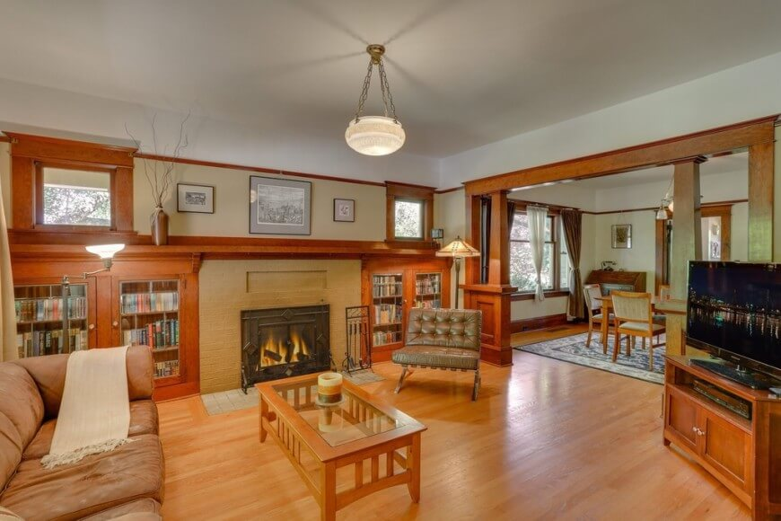 Craftsman style living room with warm wood tones.