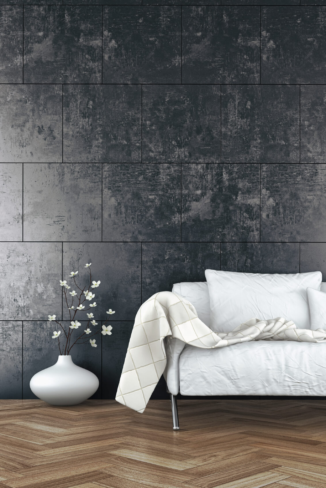 Here is an example of an interesting tiled wall. Tiles add fantastic texture to a space, and can be arranged in interesting patterns.