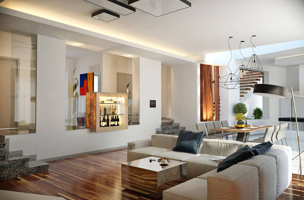 In this broad open space, we see a mixture of distinct elements, including hardwood flooring. white tile, and massive glass panels dividing the hallway.