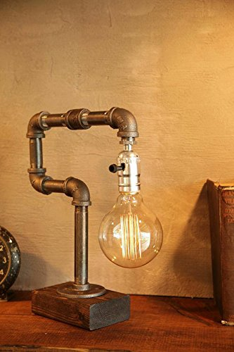 This unique table lamp is a great bedside lamp, and the Edison bulb means that the light won't be searing without a lamp shade. As each lamp is made special, every lamp will be unique. The lamp comes with a 60 watt Marconi filament Edison bulb.