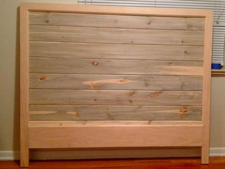 This is a great DIY project that will result in a lovely wooden headboard that you can stain or paint to match your current décor. While the headboard is made of pine, it can easily be stained to a darker walnut that would fit perfectly with other antique furniture seamlessly.