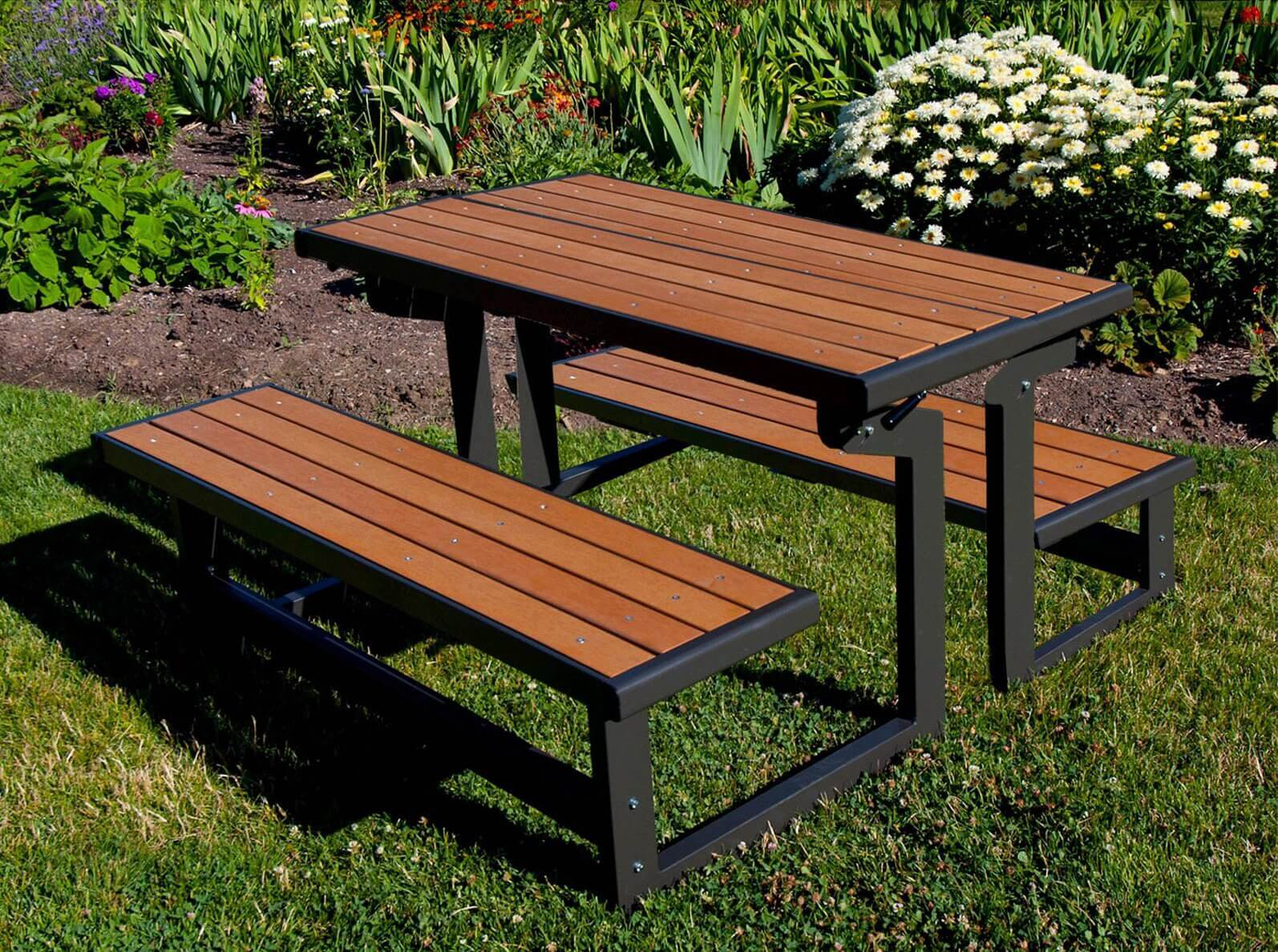 This mid range picnic table is sleek and stylish. The rich wood tones match well with the black iron look of the metal. This is a fantastic picnic table choice if you have limited space or only need seating for up to four people.