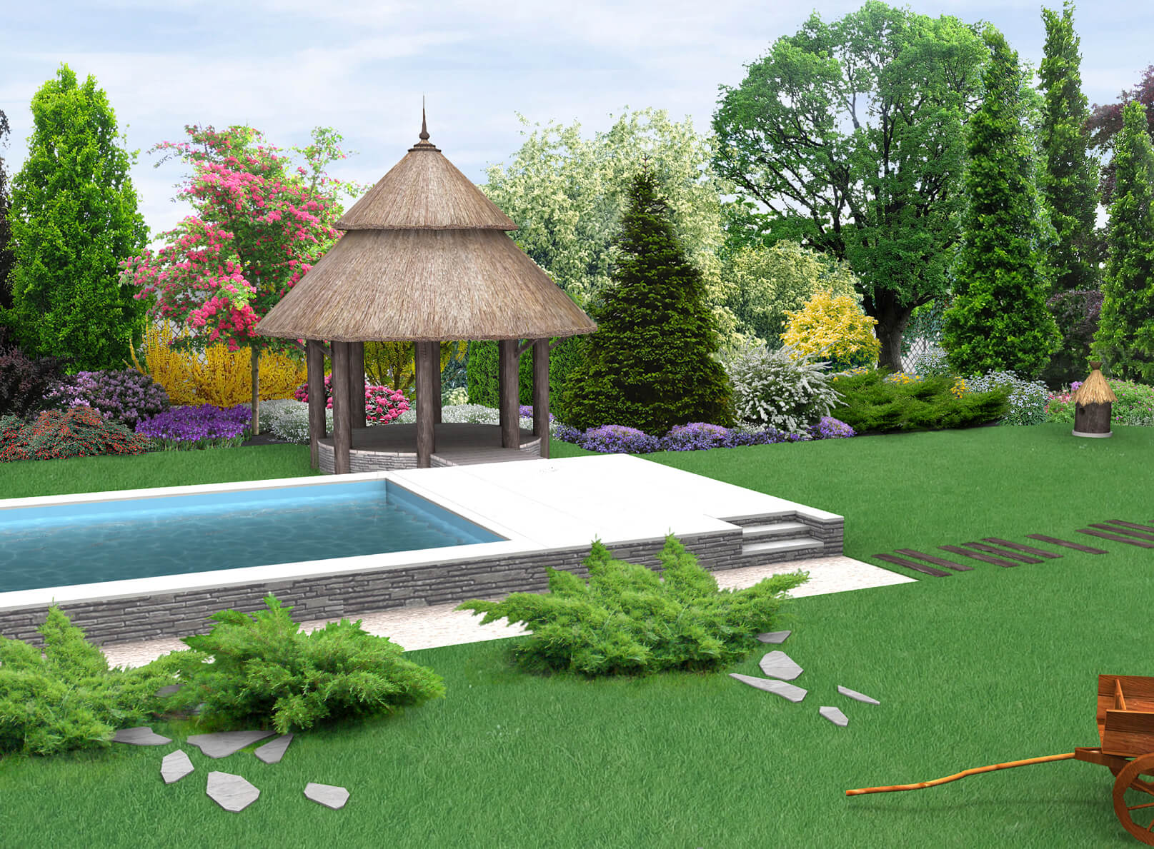 This small gazebo is a nice shady spot to sit by the pool. The thatched roof gives it an interesting rustic island appeal.
