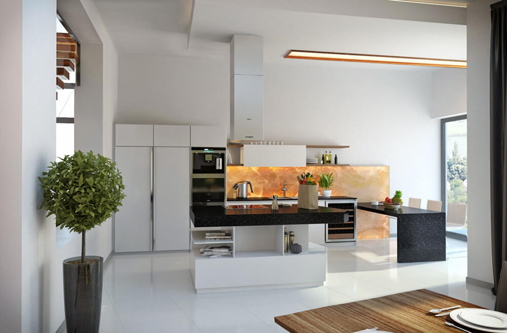 Closer to the kitchen, we see another element - dark quartz countertops - introduced, as well as a glowing amber toned accent wall in the background. The large island defines this area within the larger open plan space.