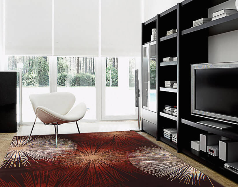 Exciting and alluring, this rug is a perfect choice for adding glamour to any room. Abstract, with sunbursts, this rug works in any contemporary space.