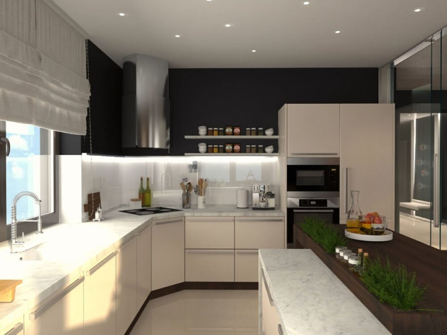 The kitchen is flush with bright tones, including white marble countertops, sleek white cabinetry, and white tile flooring. Upper shelving in black, as well as stainless steel appliances and hardware, add a dose of contrast.