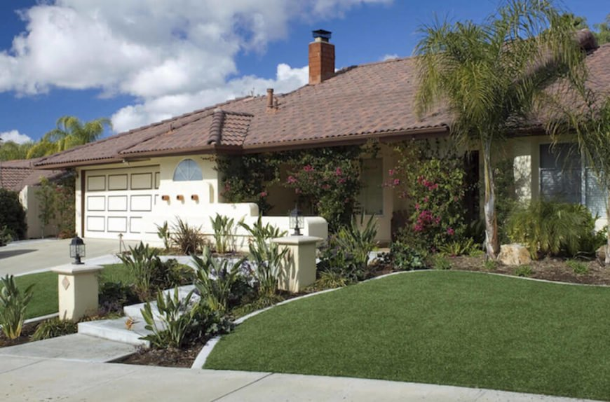 This suburban home no longer needs to worry about mowing on the inclined hill that is their front lawn. With astroturf this concern has been entirely avoided.