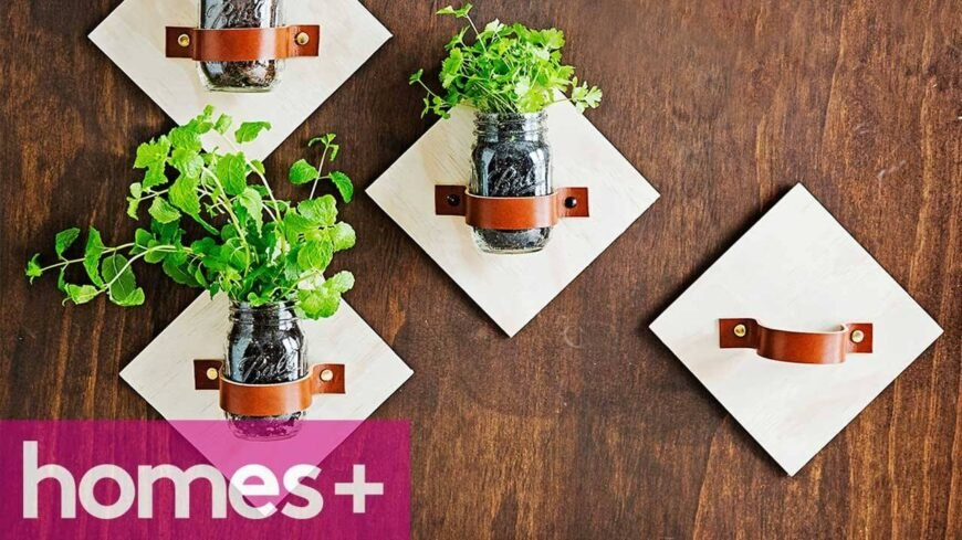 Finding space for a herb garden without creating unnecessary clutter in your kitchen can be difficult, particularly if you have a small kitchen area. Mounting small mason jars on the wall is a great way to take advantage of wall space for both decorative and practical purposes.