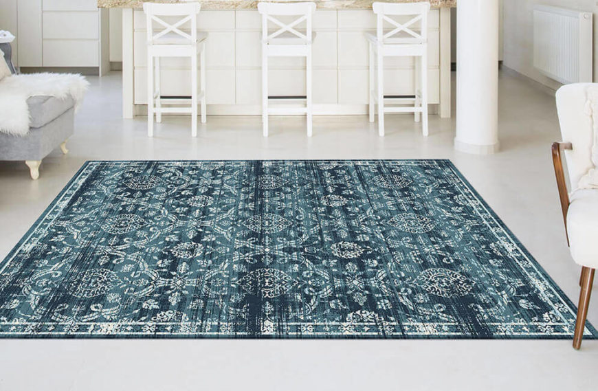 Edgy and urban, this rug's design is filled with streaks of blue and makes any room feel ultra-luxe.