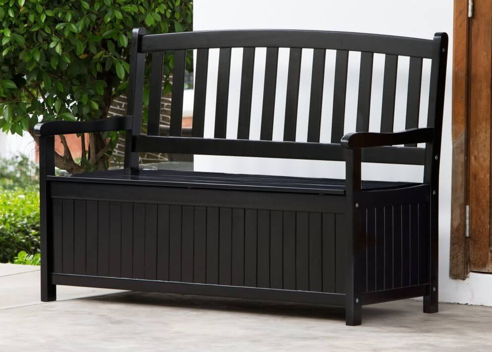 Here is another bench with underseat storage. This bench is painted black for a nice, clean modern look. Black is always a good color to use outside as it does not show dirt as much as other colors may.