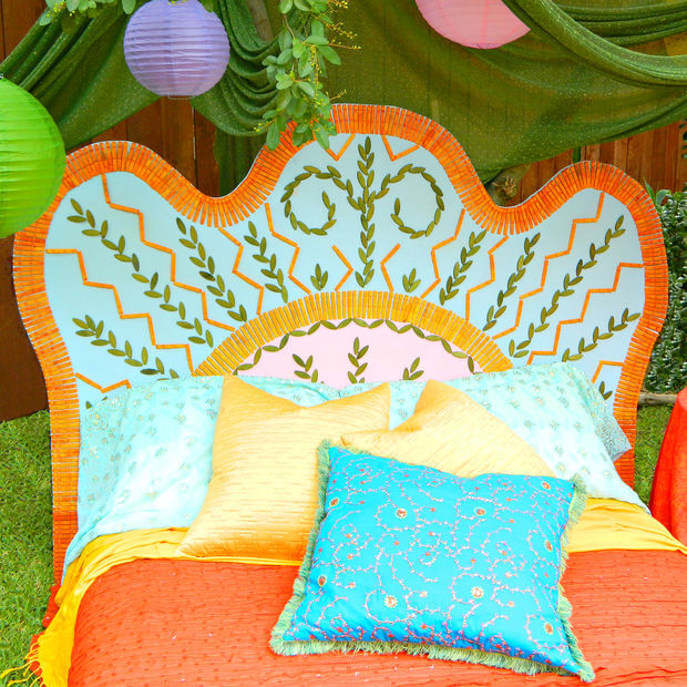 This brightly colored headboard is perfect for a Bohemian-chic bedroom of a teen girl! The finished product looks great, and you'll be surprised at how simple this DIY really is!