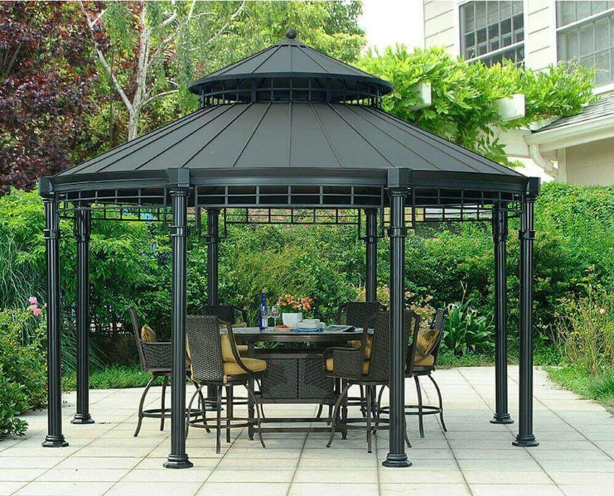 This hardtop gazebo has a simple and sleek design. This is a great gazebo that gets the job done without much fuss. The round design is perfect for fitting a round dinner table, giving all sides of the table equal room under the covering.