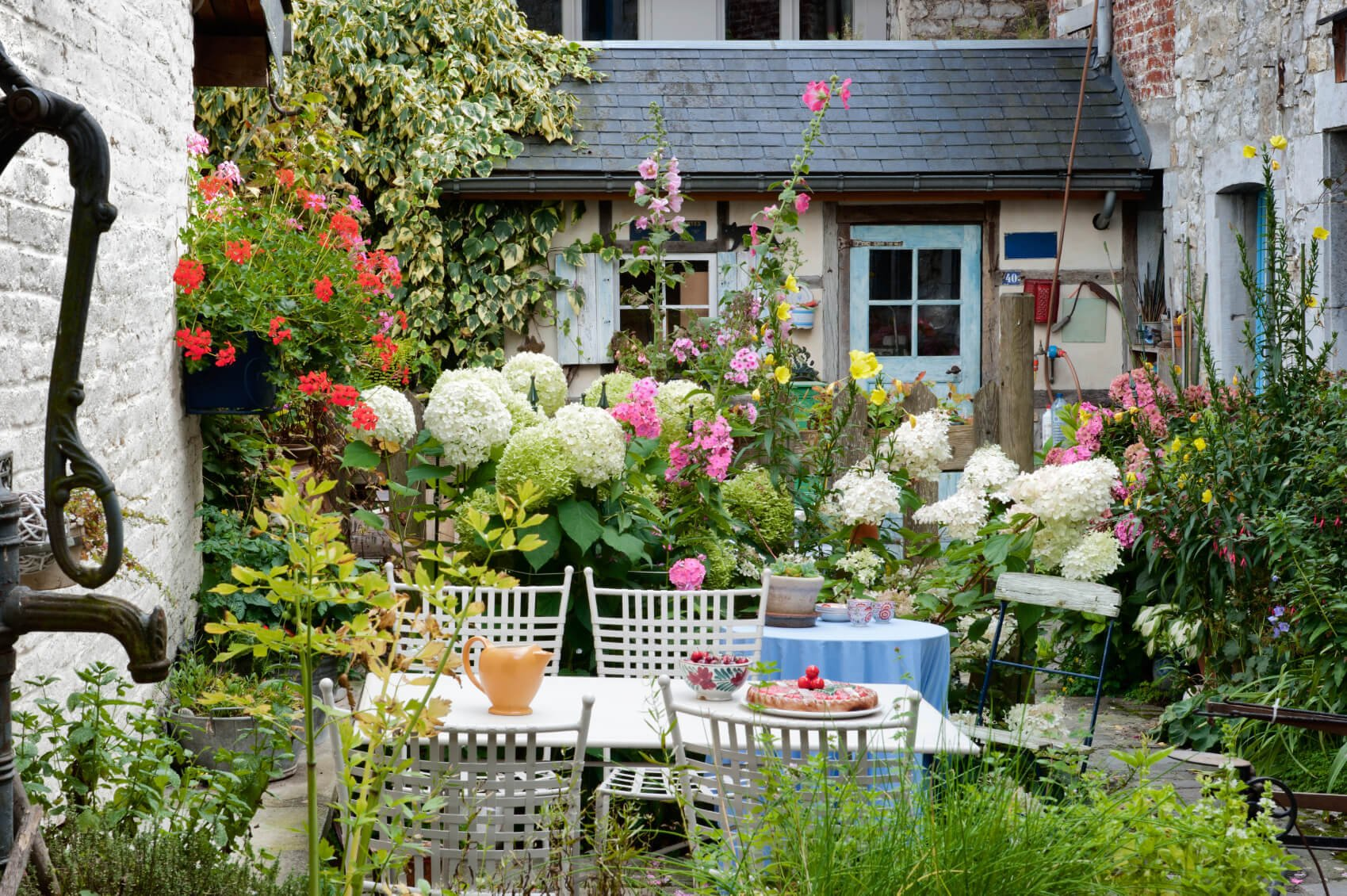This small space is teaming with a plethora of flowers and plants. Just because a garden is small does not mean the flowers need to be. There are plenty of small plants with large bounties.