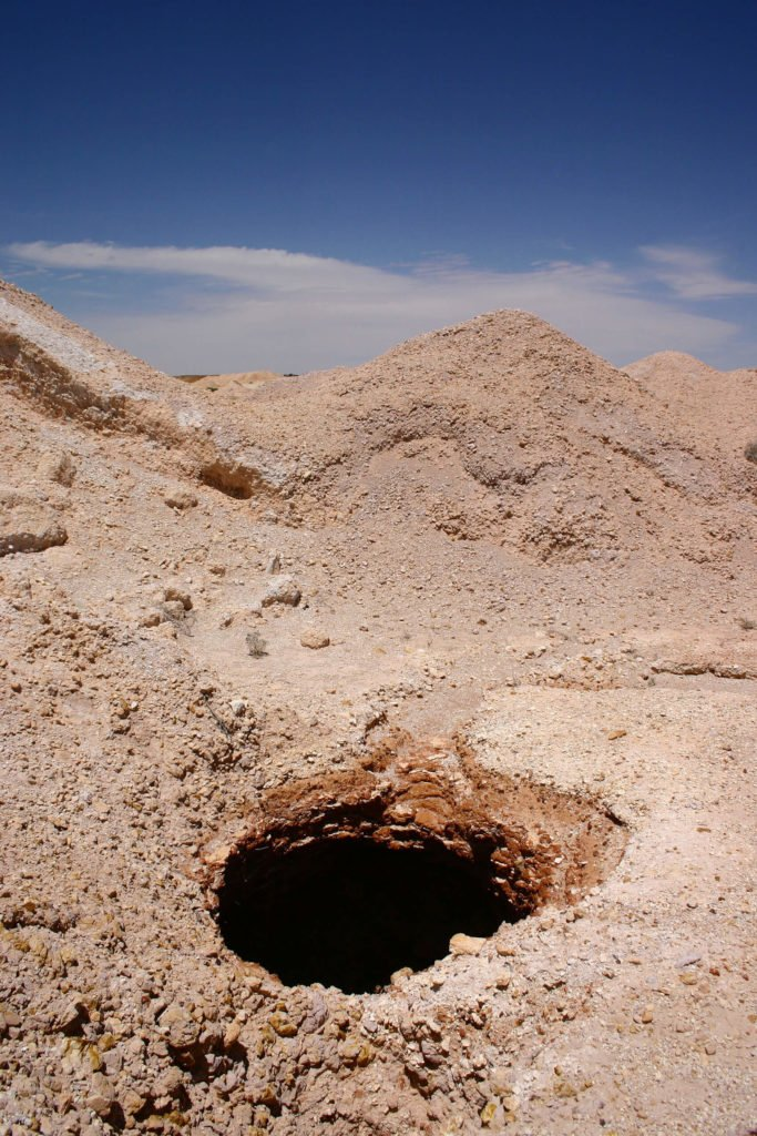 This is one of many vertical shafts built into Coober Pedy, a commonplace hazard for anyone in the area. These provide important ventilation to the underground city.
